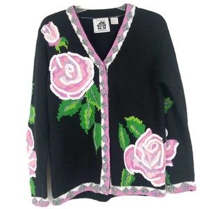 Storybook Knits Embroidered Roses Cardigan Sz S